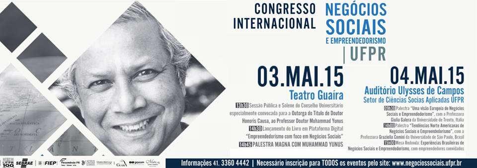 UFPR promove congresso gratuito com Muhammad Yunus, vencedor do Nobel da Paz